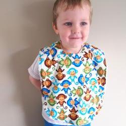 toddler boy bib - monkeys