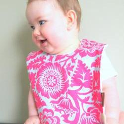 baby bib children spring pink flambe cotton minky snap bib