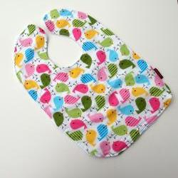 Spring Baby Bib Toddler Pink Baby Girl birds terry cloth cotton snap